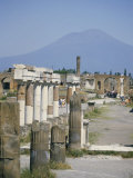 Vesuvius Volcano from Ruins of Forum Buildings in Roman Town, Pompeii, Campania, Italy Photographic Print by Tony Waltham