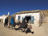 Man Walking Behind Women on Donkeys, Syadara, Between Yakawlang and Daulitiar, Afghanistan Photographic Print by Jane Sweeney