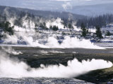 Steam from Hot Springs and Snow-Free Hot Ground in Midway Basin in Winter, USA Photographic Print by Tony Waltham