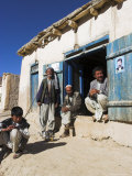 Men Sitting Outside Shop, Syadara, Between Yakawlang and Daulitiar, Afghanistan Photographic Print by Jane Sweeney