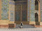 A Man Carrying a Kettle Walks Past the Friday Mosque, Herat, Afghanistan Photographic Print by Jane Sweeney