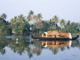 Tourists' Rice Boat on the Backwaters Near Kayamkulam, Kerala, India Photographic Print by Tony Waltham