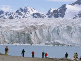 Visitors from Ice-Breaker Tour Ship, July 14 Glacier, Krossfjorden, Spitsbergen, Svalbard, Norway Photographic Print by Tony Waltham