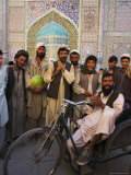 Handicapped Man Sitting in Special Modified Bike Surrounded by Men Outside Shrine of Hazrat Ali Photographic Print by Jane Sweeney