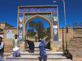 Pilgrims at Main Entrance Arch, Sufi Shrine of Gazargah, Herat, Herat Province, Afghanistan Photographic Print by Jane Sweeney