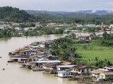 Stilt Houses Along Limbang River, Limbang City, Sarawak, Malaysia, Island of Borneo Photographic Print by Tony Waltham
