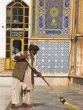 Man Sweeping, Friday Mosque or Masjet-Ejam, Herat, Herat Province, Afghanistan Photographic Print by Jane Sweeney