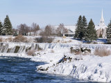 Waterfall on Snake River in January, Idaho Falls, Idaho, USA Photographic Print by Tony Waltham