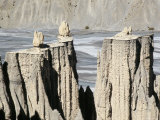 Earth Pillars, Rainwash Erosion in Terrace Sediments, Spiti Valley, Himachal Pradesh, India Photographic Print by Tony Waltham