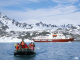 Tourists in Zodiac from Ice-Breaker Tour Ship, Spitsbergen, Norway Photographic Print by Tony Waltham