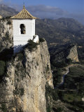 Bell Tower in Village on Steep Limestone Crag, Guadalest, Costa Blanca, Valencia Region, Spain Photographic Print by Tony Waltham
