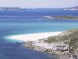 Mheilein Beach of White Shell-Sand, Sound of Scarp, North Harris, Western Isles Photographic Print by Tony Waltham