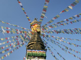 Prayer Flags on Boudhanath Stupa, Kathmandu, Nepal Photographic Print by Tony Waltham