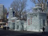 Ice Sculptures in Zhaolin Park, Ice Lantern Festival, Harbin City, Heilongjiang, China Photographic Print by Tony Waltham