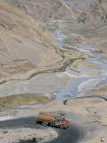 Truck Climbing Lachalang Pass, out of Valley of Zanskar River, Ladakh, India Photographic Print by Tony Waltham