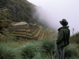 Tourist Watches Clouds Swirl Around Mountains, Inca Trail, Peru, South America Photographic Print by Jane Sweeney