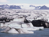 Icebergs on Jokulsa Lake, Vatnajokull Icecap Behind, South Coast, Iceland, Polar Regions Photographic Print by Tony Waltham