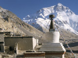 North Side of Mount Everest (Chomolungma), from Rongbuk Monastery, Himalayas, Tibet, China Photographic Print by Tony Waltham
