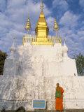 Buddhist Monk, That Chomsi, Phu Si Hill, Luang Prabang, Laos, Indochina, Southeast Asia Photographic Print by Jane Sweeney