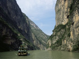Tourist Boat in the Longmen Gorge, First of the Small Three Gorges, Yangtze Gorges, China Photographic Print by Tony Waltham