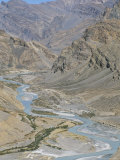 Zanskar River Valley Between Himalaya and Zanskar Mountains Seen from Leh-Manali Highway, India Photographic Print by Tony Waltham