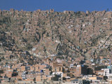View Across City from El Alto, of Suburb Houses Stacked up Hillside, La Paz, Bolivia Photographic Print by Tony Waltham