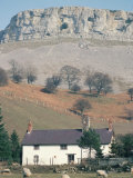 Farmhouse Beneath Limestone Scarp, Glwyseg Mountain, Llangollen, Clwyd, Wales Photographic Print by Tony Waltham