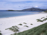 Walkers on Mheilein Beach of White Shell-Sand, Sound of Scarp, North Harris, Western Isles Photographic Print by Tony Waltham