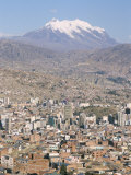 View Across City from El Alto, with Illimani Volcano in Distance, La Paz, Bolivia, South America Photographic Print by Tony Waltham