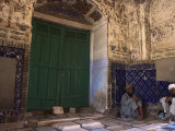 Pilgrims in the Hallway, Sufi Shrine of Gazargah, Herat, Herat Province, Afghanistan Photographic Print by Jane Sweeney