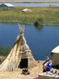 Uros (Urus) Village on Floating Island, Islas Flotantas, Reed Islands, Lake Titicaca, Peru Photographic Print by Tony Waltham
