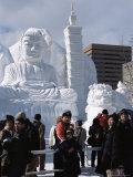 Snow Sculptures in Odori-Koen, Yuki Matsuri (Snow Festival), Sapporo, Hokkaido, Japan Photographic Print by Tony Waltham