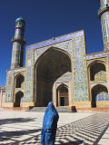 Lady Wearing a Blue Burqua Outside the Friday Mosque (Masjet-E Jam), Herat, Afghanistan Photographic Print by Jane Sweeney