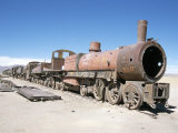 Cementerio De Trenes, Steam Engine Relics in Desert, Uyuni, Southwest Highlands, Bolivia Photographic Print by Tony Waltham