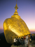 Balanced Rock Covered in Gold Leaf, Major Buddhist Stupa and Pilgrim Site, Kyaiktiyo, Myanmar Photographic Print by Tony Waltham
