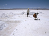 Hand-Working in Colchani Salt Pans, Salar De Uyuni, Salt Flat, Southwest Highlands, Bolivia Photographic Print by Tony Waltham