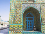 Pilgrim Sits in a Niche at the Shrine of Hazrat Ali, Mazar-I-Sharif, Afghanistan Photographic Print by Jane Sweeney