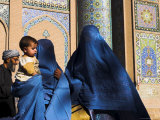 Ladies Wearing Blue Burqas Outside the Friday Mosque (Masjet-E Jam), Herat, Afghanistan Photographic Print by Jane Sweeney