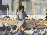 Child Chasing the Famous White Pigeons, Mazar-I-Sharif, Afghanistan Fotoprint van Jane Sweeney