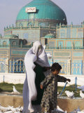 People Feeding the Famous White Pigeons at the Shrine of Hazrat Ali, Mazar-I-Sharif, Afghanistan Photographic Print by Jane Sweeney
