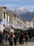 Shopping Street in New Chinese District, Lhasa, Tibet, China Photographic Print by Tony Waltham