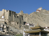 Leh Palace Above Main Town, with Tsemo Gompa on Ridge Behind, Leh, Ladakh, India Photographic Print by Tony Waltham