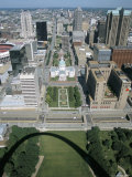 State Capitol and Downtown Seen from Gateway Arch, Which Casts a Shadow, St. Louis, USA Photographic Print by Tony Waltham
