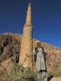 Afghani Man in Front of 12th Century Minaret of Jam, Ghor (Ghur, Afghanistan Photographic Print by Jane Sweeney