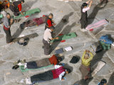 Pilgrims Prostrating in Front Square, Jokhang Buddhist Temple, Lhasa, Tibet, China Photographic Print by Tony Waltham