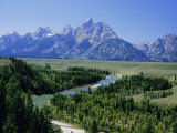 Snake River Cutting Through Terrace 2000M Below Summits, Grand Teton National Park, Wyoming, USA Photographic Print by Tony Waltham