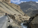 Srinagar-Leh Road in Yapola Gorge, from Lamayuru Down to Indus Valley, Ladakh, India Photographic Print by Tony Waltham