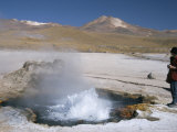 Geyser in Pool in Sinter Basin, El Tatio Geyser Basin on Altiplano, Atacama Desert, Chile Photographic Print by Tony Waltham