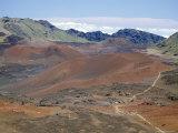Foot Trail Through Haleakala Volcano Crater Winds Between Red Cinder Cones, Maui, Hawaiian Islands Photographic Print by Tony Waltham