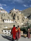 Novice Monks Walk from Village, Lamayuru Monastery, Ladakh, India Photographic Print by Tony Waltham
